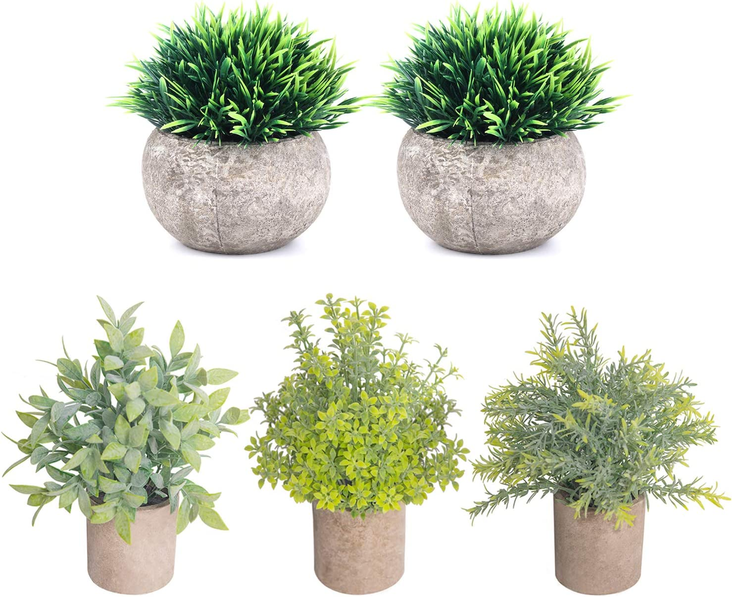 THE BLOOM TIMES 5 Pcs Fake Plants for Bathroom/Home Office Decor, Small Artificial Faux Greenery for House Decorations