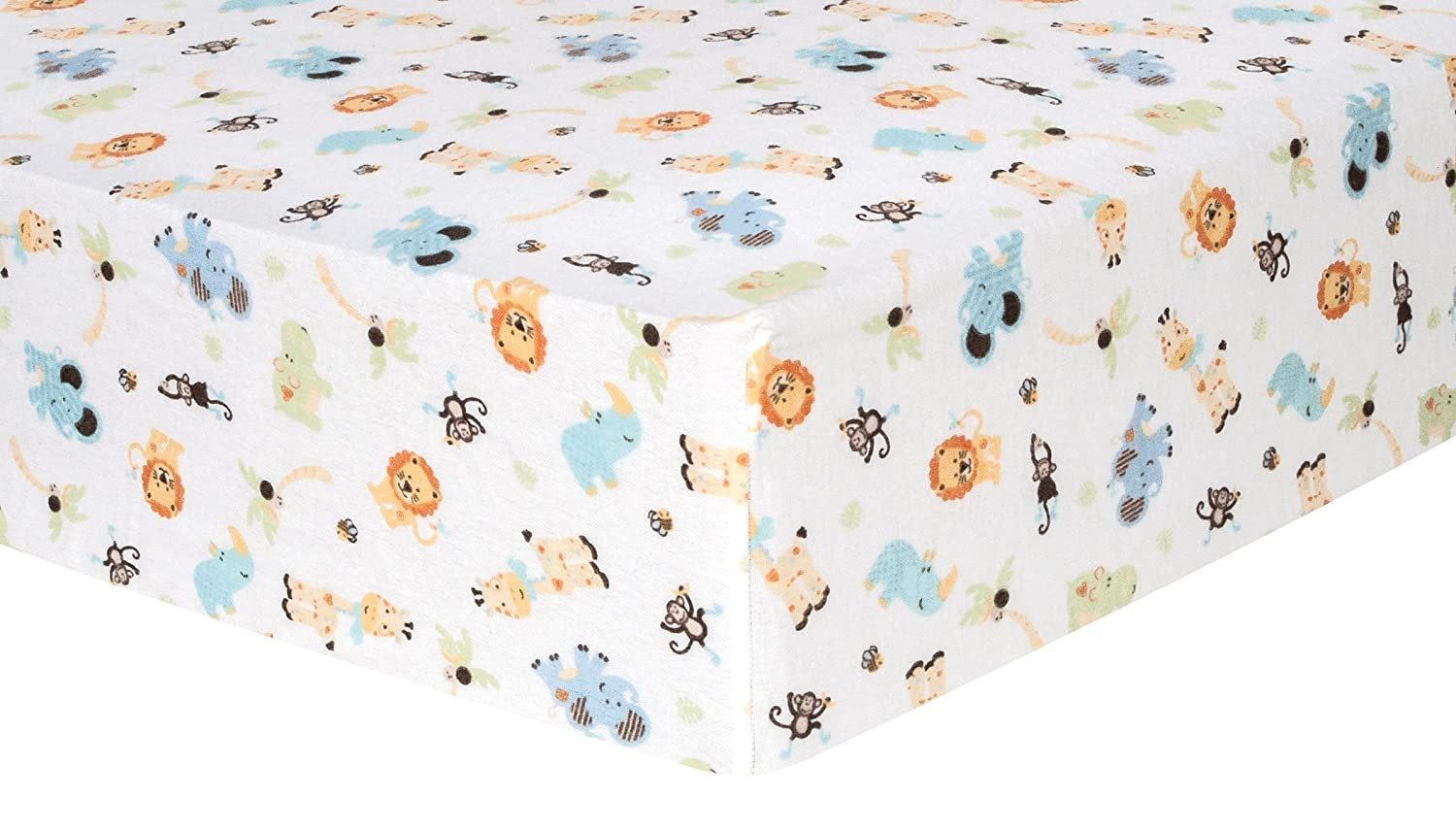 Trend Lab Jungle Friends Deluxe Flannel Fitted Crib Sheet 101329