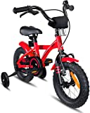 """Prometheus Bicicletta per Bambini e Bambine da 3 Anni nei Colori Rosso e Nero da 12 Pollici con rotelle e contropedale - BMX da 12"""" Modello 2019"""