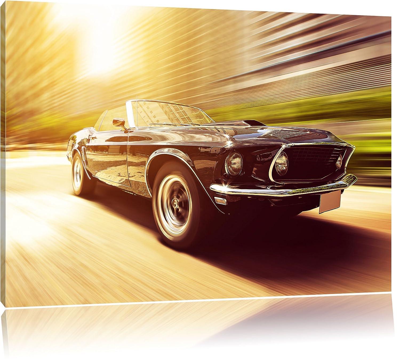 Ford Mustang Bild auf Leinwand, XXL riesige Bilder fertig gerahmt mit Keilrahmen, Kunstdruck auf Wandbild mit Rahmen, guenstiger als Gemaelde oder Bild, kein Poster oder Plakat, Format 120x80 cm