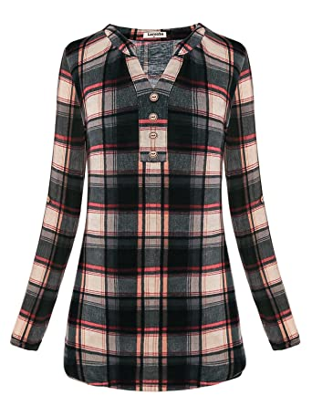 51ddc9af7f8 Larenba Women s V Neck Long Sleeve Blouses Casual Henley Shirts at ...