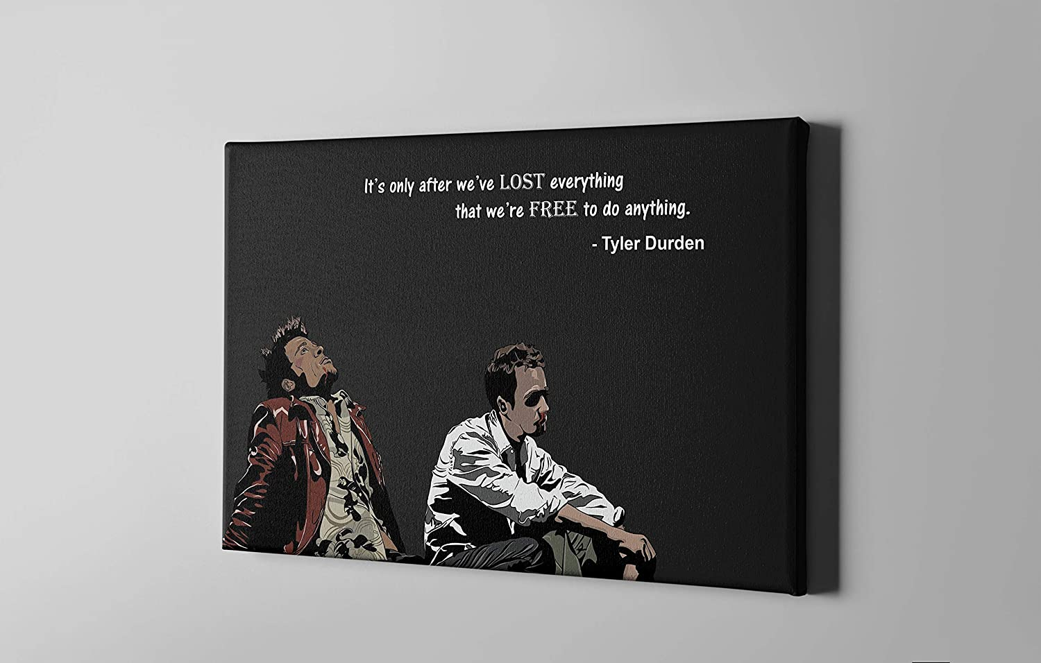 """MW MERWEZI Fight Club Movie Poster with tex Tyler Durden Wall Art Canvas Print Canvas Home Decor (30""""x20"""" Stretched on Wood)"""