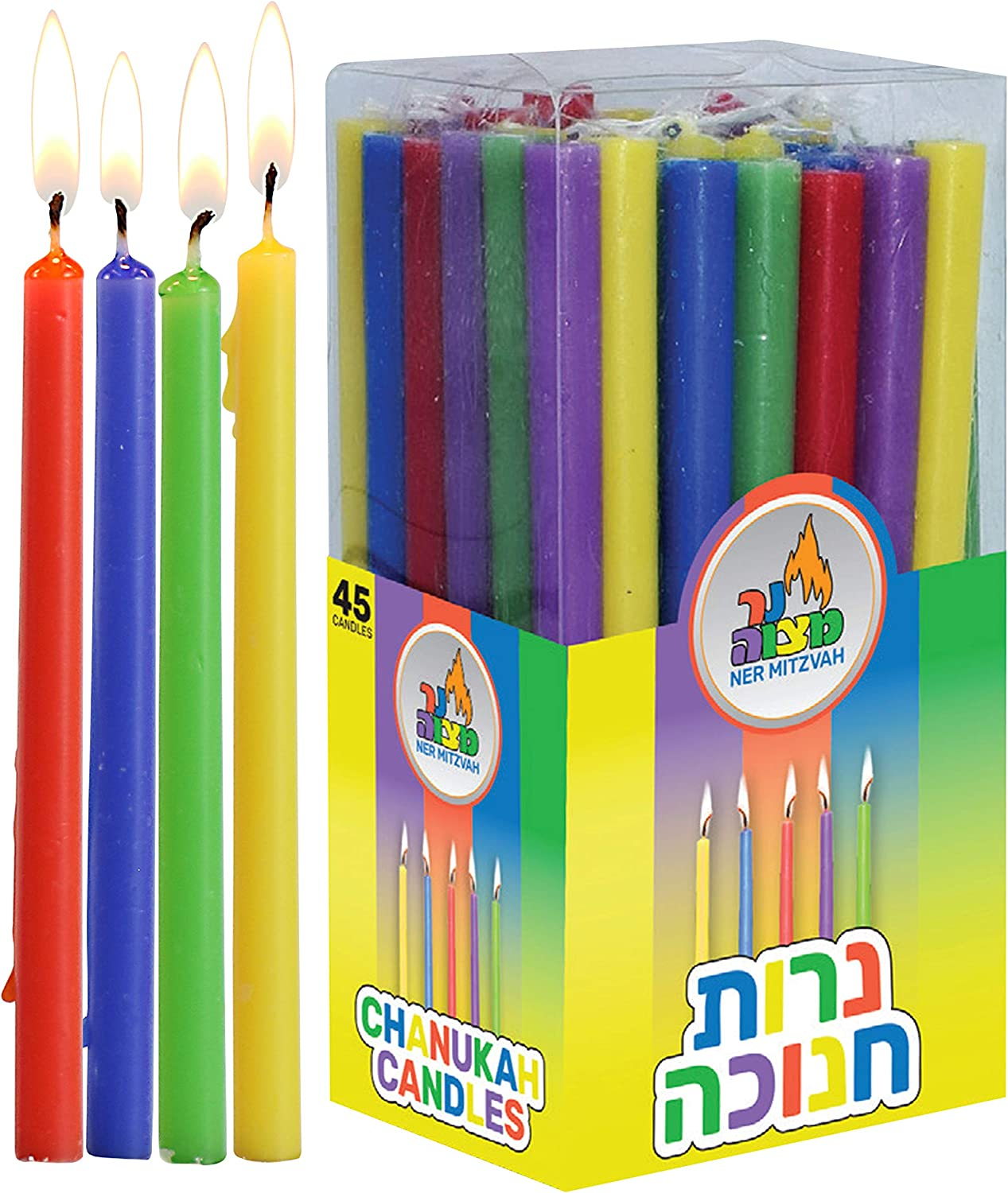 Safed Handcrafted Hanukkah Candles 45-Pack Orange//Purple//Yellow//Teal 6-Inch