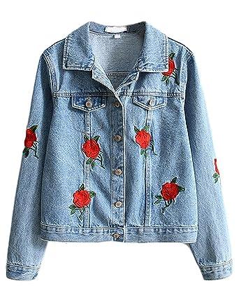 Cystyle Neue Damen Mädchen Beiläufig Stilvoll Bestickt Stickerei Rose  Gewaschene Jeans Denim Jeansjacke Jacket Oberbekleidung ( 4cbb059adf