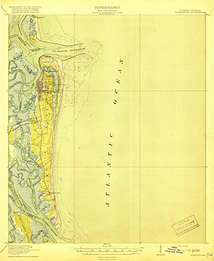 Florida Topographic Map.Amazon Com Florida Maps 1919 Fernandina Beach Fl Usgs Historical