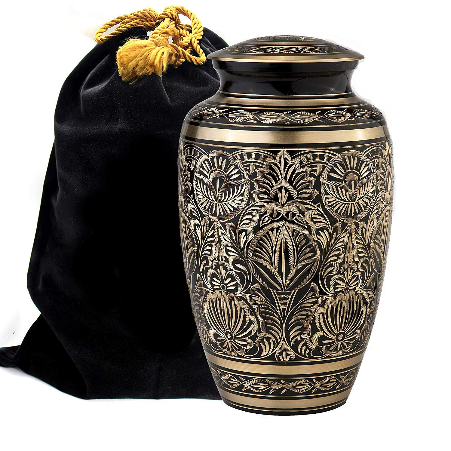 Majestic Radiance 100% Brass Cremation Urn for Human Ashes Large and Small (Large)...