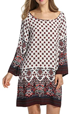 9b4f2999ee717 HOTOUCH Women Bohemian Ethnic Style Loose Fit Long Sleeve Printed Tunic  Dress  Amazon.co.uk  Clothing