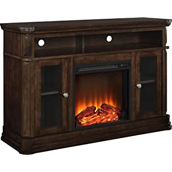 ameriwood home altra furniture brooklyn fireplace tv stand 55 espresso - Tv Stands With Built In Fireplaces