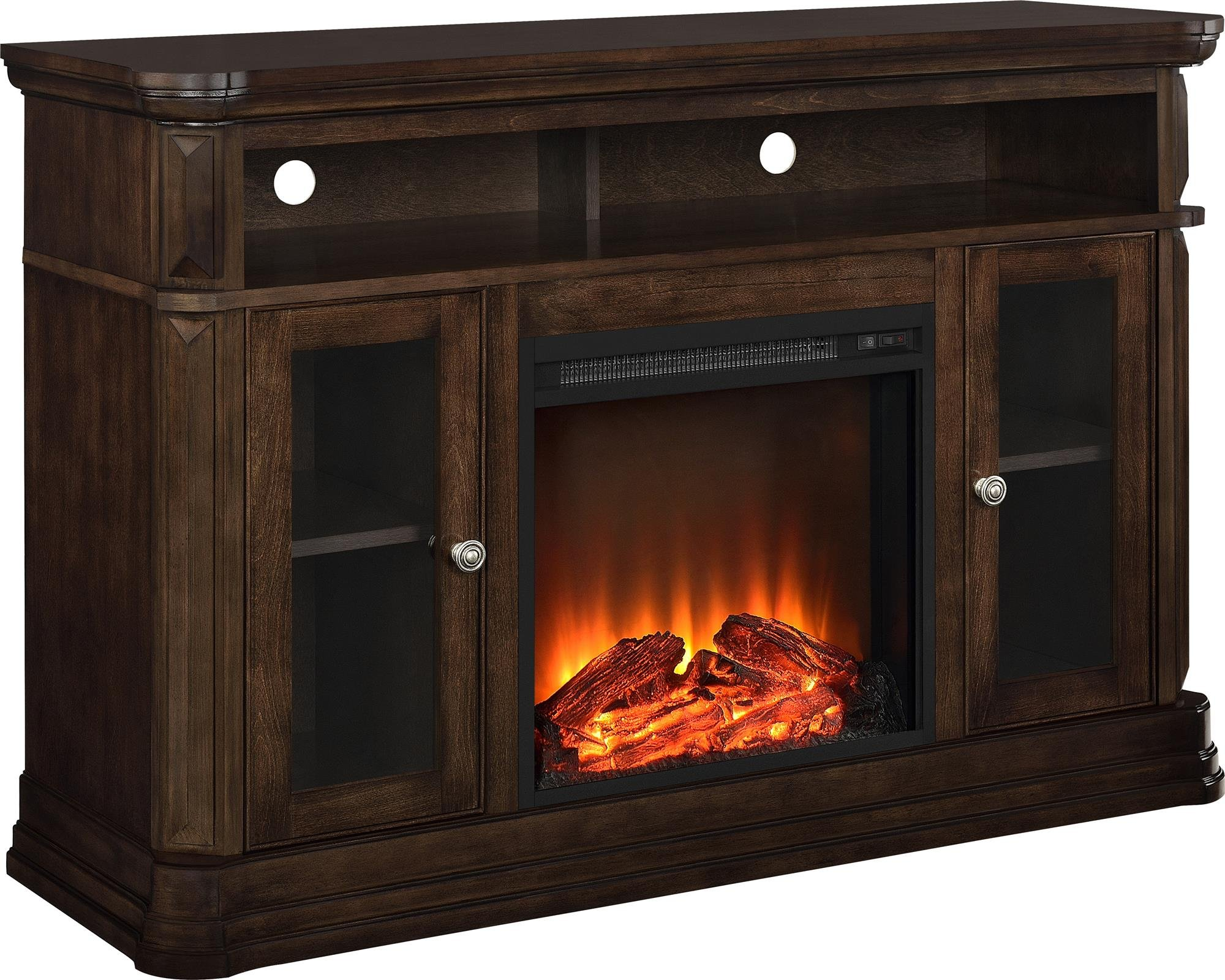 Ameriwood Home Brooklyn Electric Fireplace TV Console for TVs up to 50'', Espress by Altra Furniture