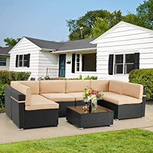 U-MAX 7 Piece Outdoor Patio Furniture Set, PE Rattan Wicker Sofa Set, Outdoor Sectional Furniture Chair Set with Cushions and Tea Table, Black