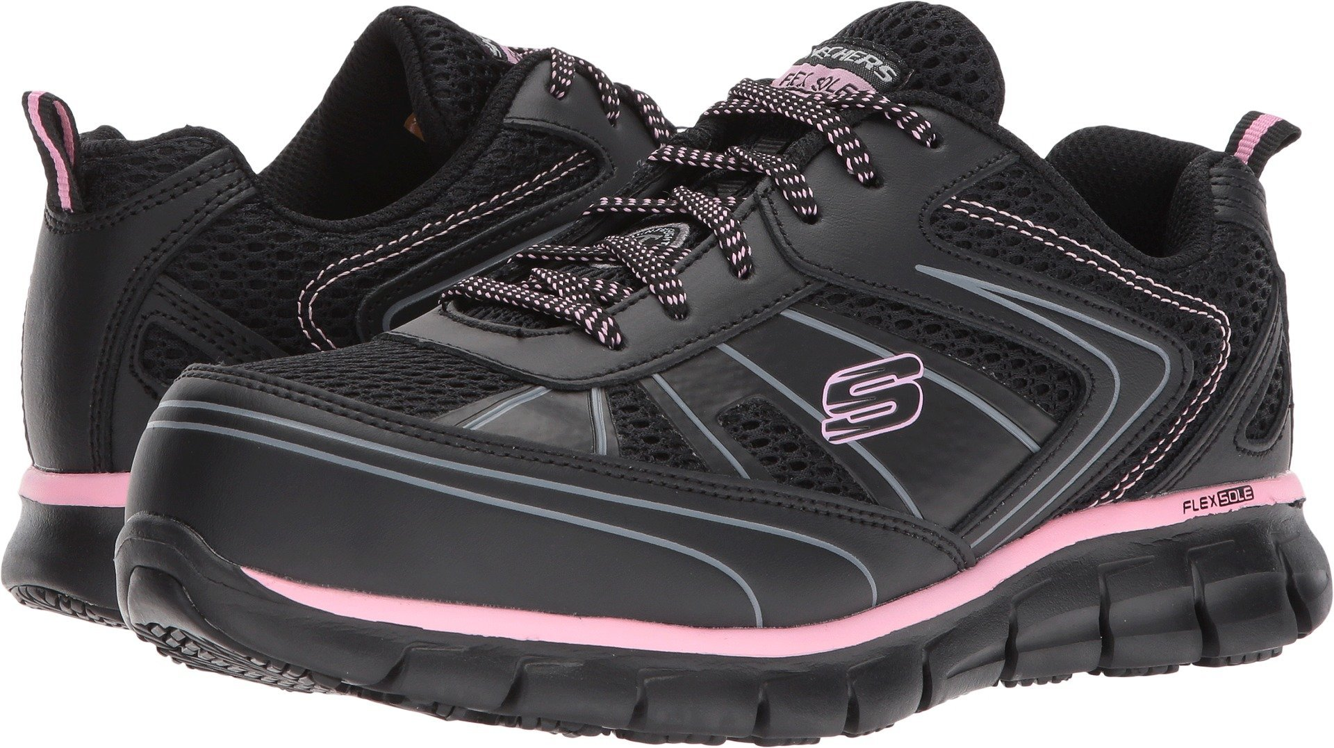 Skechers Work Women's Synergy - Algonac Black Leather/Mesh/Pink Trim 5 D US