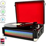 DIGITNOW! Bluetooth Multi-Color LED Record Player for Vinly Records with Stereo Speakers, Belt Driven 3-Speed Turntable Built-in Multi-Color LED Lights, Vinyl to MP3 Recording, Aux Input & RCA Output