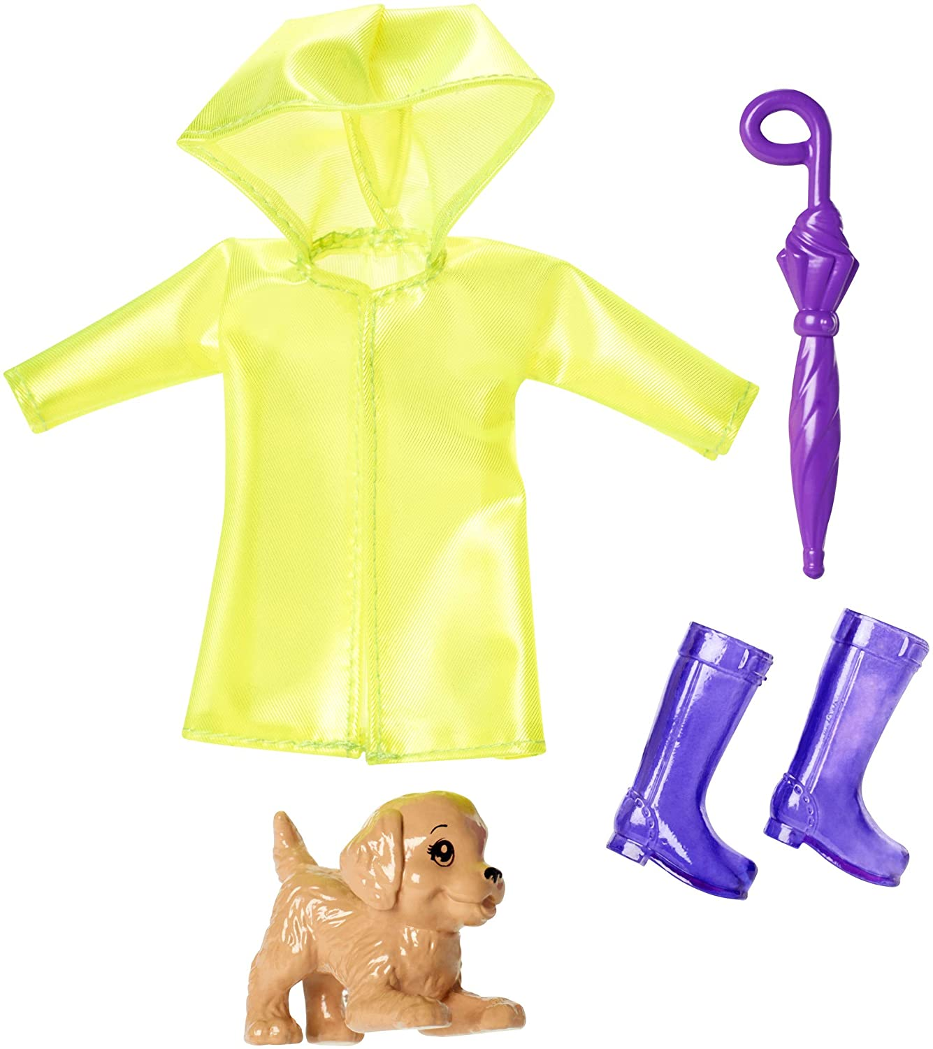 Barbie Club Chelsea Accessory Pack, Rainy Day-Themed Clothing and Accessories for Small Dolls, 4 Pieces for 3 to 7 Year Olds Include Raincoat, Umbrella and Puppy