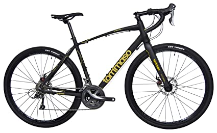 Tommaso Sterrata Shimano Claris R2000 Gravel Adventure Bike with Disc Brakes, Extra Wide Tires, and Carbon Fork Perfect for Road Or Dirt Trail Touring, Matte Black - Small best touring bikes