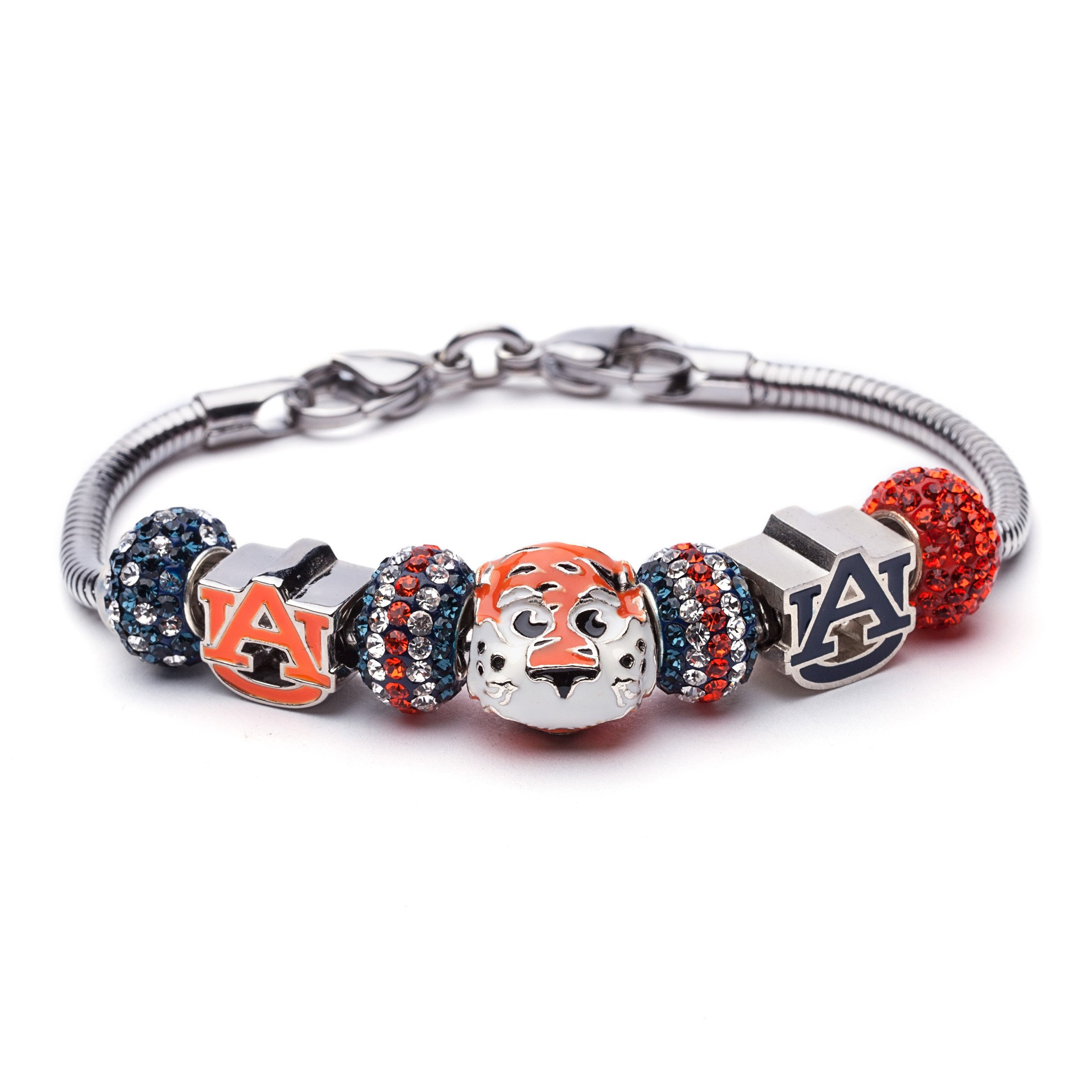 Auburn University Bracelet | AU Tigers Charm Bracelet with Block AU and Crystal Charms | Officially Licensed Auburn University Jewelry | AU Gifts | Auburn Tigers | AU Charms | Stainless Steel