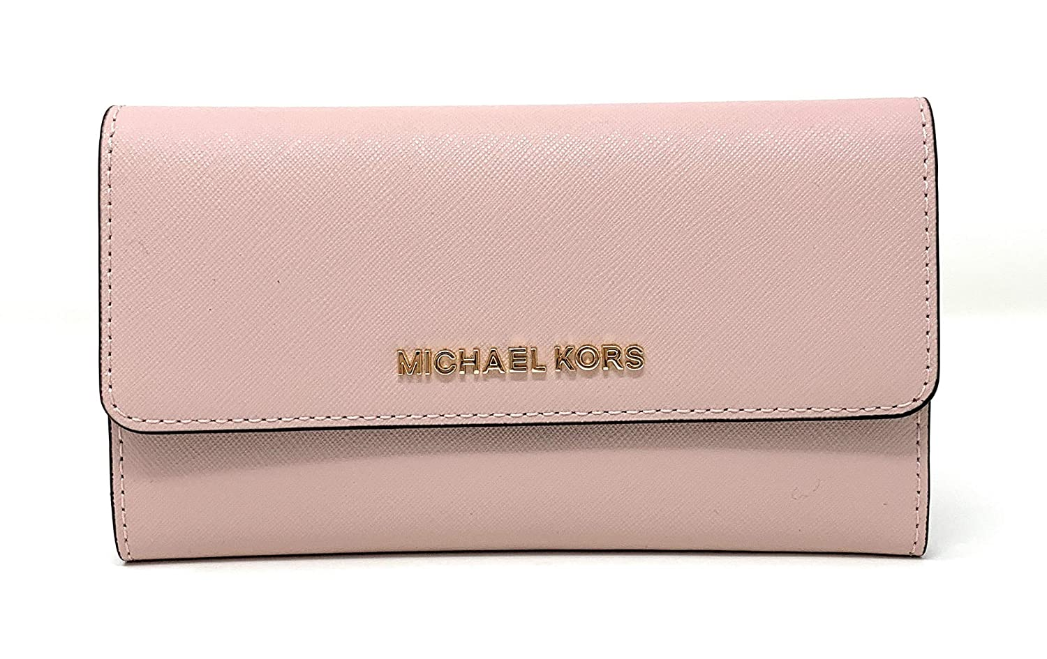 e560eb606ed0 Michael Kors Jet Set Travel Large Trifold Saffiano Leather Wallet -  Blossom Fawn  Amazon.co.uk  Clothing