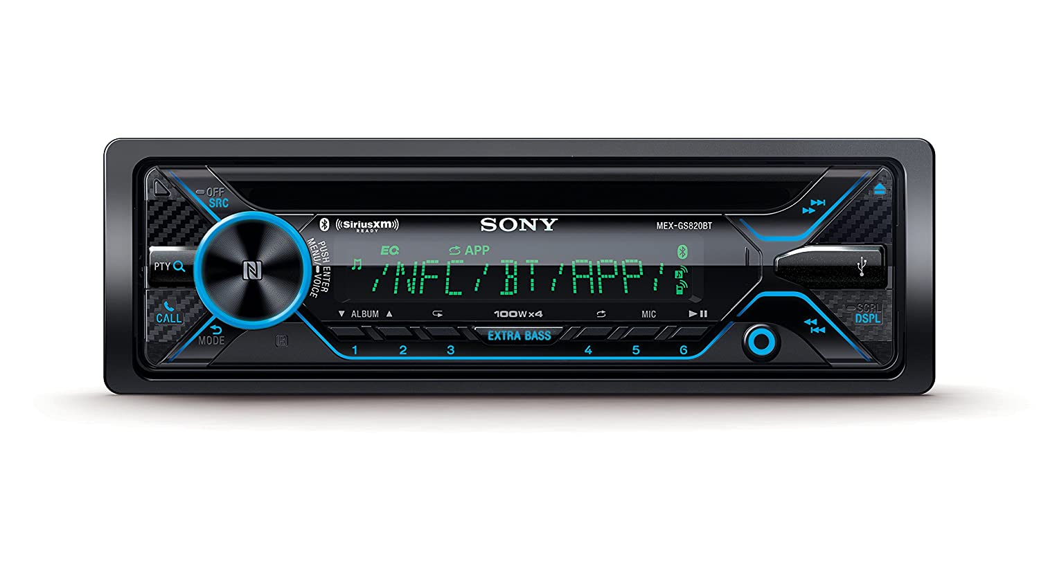 Dual BT Sony MEXGS820BT GS Variable Color 160W Hi-Power EQ10 Dual AUX 3 Pre 5V Sxm NFC Dual USB Aoa 2.0 Extrabass Songpal