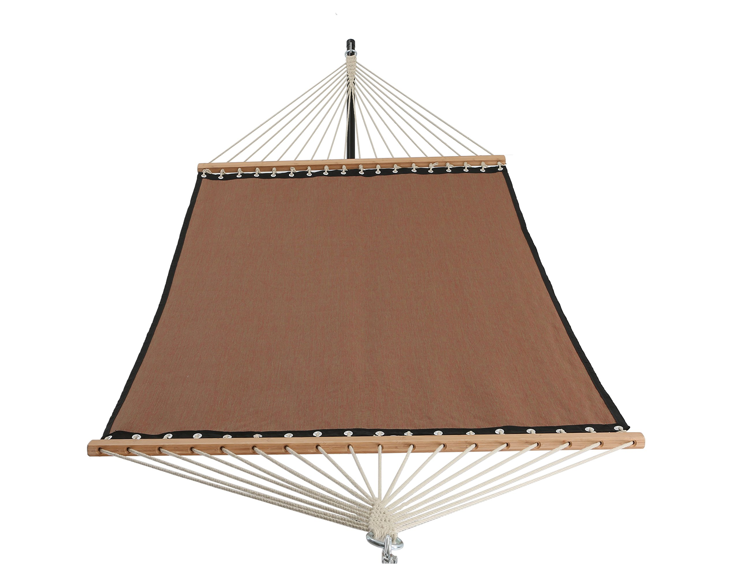 Patio Watcher 11 FT Quick Dry Hammock Bamboo Spreader Bars Outdoor Patio Yard Poolside Hammock with Chain Hanging Kits and Hooks, Textilene and Olefin Material, Waterproof and UV Resistance, Red - Dimensions: Patio Watcher rope hammock is large enough to hold 2 person.The total length (from loop to loop) is 11-feet while the bed resting area is 75 inches Long x 55 inches Wide. Two steel S-hooks and two 13-inch chains for adjust. This hammock is designed to safely support a maximum capacity of 400 pounds. Durable and Comfort: This Hammock is made of Textilene and Olefin material that is non-toxic fabric, soft, breathable, comfortable, weatherproof and oil proof. The fabric is vinyl coated for easy clean up and dry quickly. 55 inches durable bamboo spreader bar with powder coated in an oil rubbed finish protects from rot, mold or mildew, making it more stable and maximizing style. Easy to Use: Comes with a high quality rope hammock, sturdy suspension rings, two steel S-hooks and two 13-inch chains for easy setup. Just hang it between two trees with straps or on a hammock stand (NOT INCLUDED). And this patio hammock is very easy to take it off and roll it up, store it. - patio-furniture, patio, hammocks - 817Omxvo5pL -