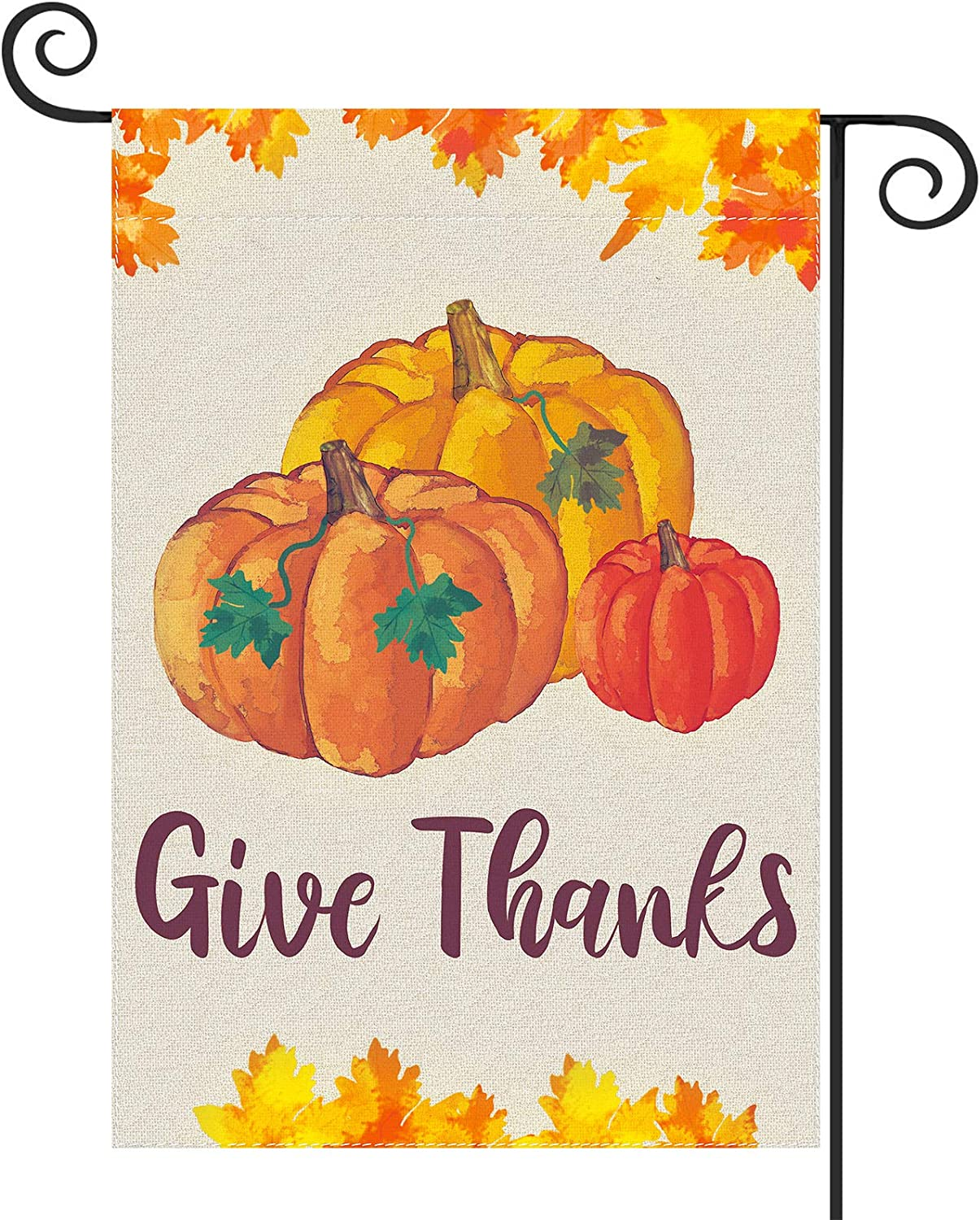 Ivenf Thanksgiving Pumpkin Give Thanks Garden Flag Double Sided Outdoor Yard Patio Decorations, Burlap Fall Banners Supplies, 12.5 x 18 inch