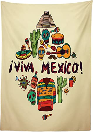 vipsung Mexican decoración Mantel Mexicano símbolos Viva México Ornate histórico Patrimonio civilización Baquetas Comedor Cocina Funda para Mesa Rectangular: Amazon.es: Hogar