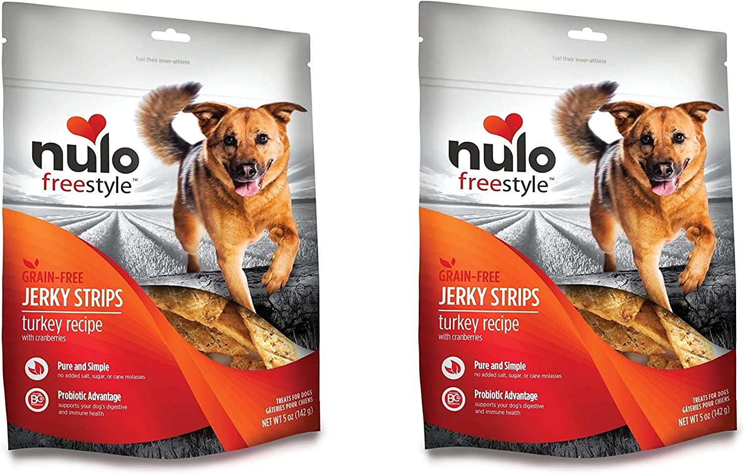 Nulo Freestyle 2 Pack of Grain-Free Jerky Strips Dog Treats, 5 Ounces Each, Turkey Recipe with Cranberry