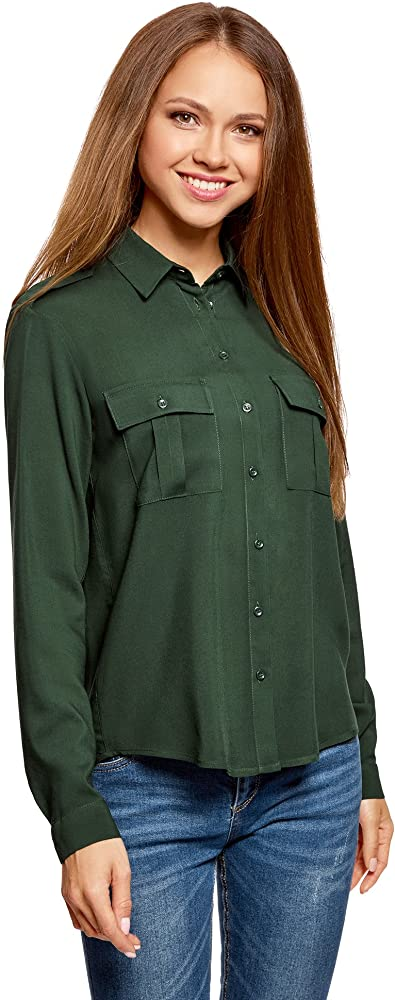 oodji Ultra Mujer Blusa Básica de Viscosa con Bolsillos en el Pecho, Verde, ES 34 / XXS: Amazon.es: Ropa y accesorios