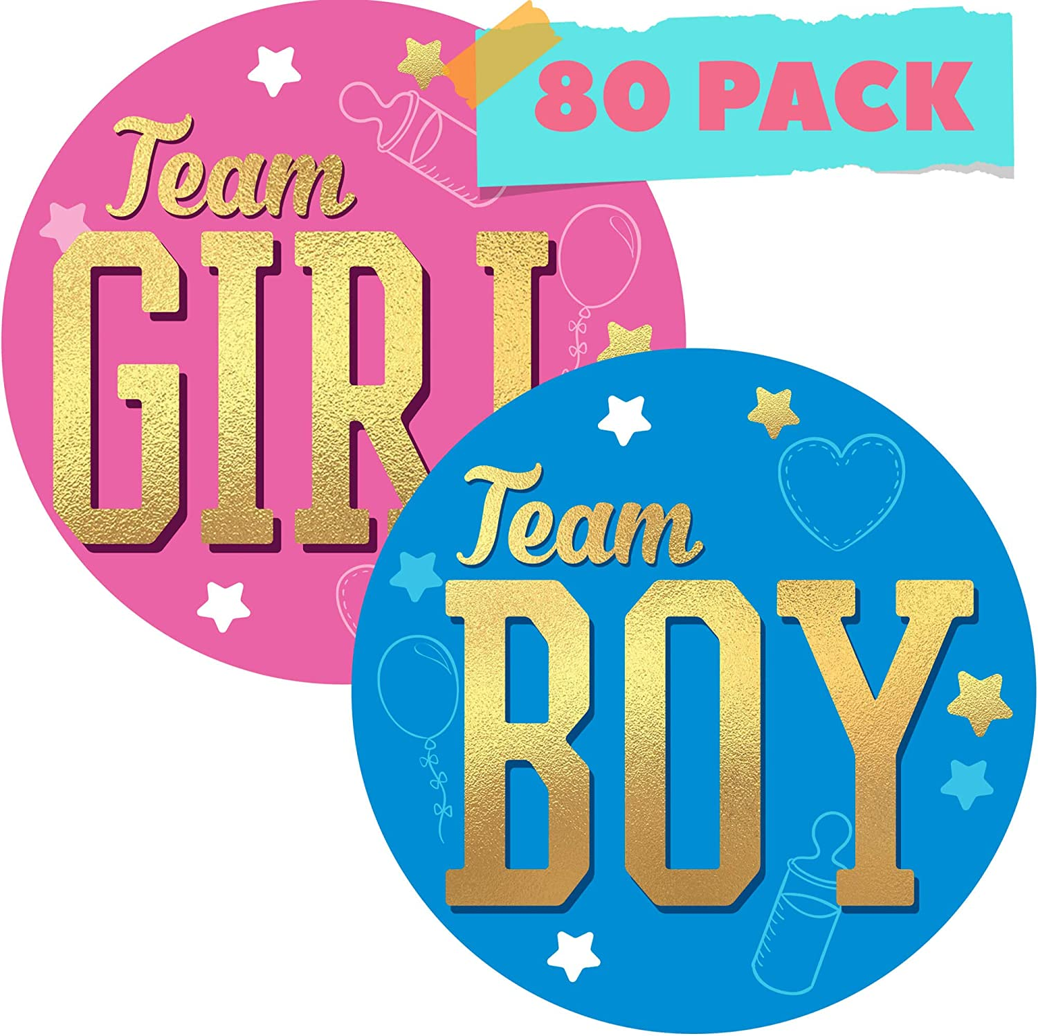 CORRURE 80pcs Gender Reveal Stickers for Voting Games and Party Supplies - Easy to Stick and Peel-Off - 2.0