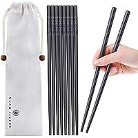 5 Pairs Fiberglass Chopsticks, GLAMFIELDS Reusable Japanese Chinese Korean Chop sticks Dishwasher Safe, Non-slip, 9 1/2…