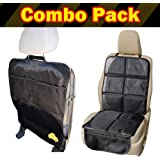 Child Car Seat Protector Mat PLUS Car Kick Mat Organizer Auto Combo Pack - Protect the Back Seat - Get 2 Protectors for One Price with Protective Cover