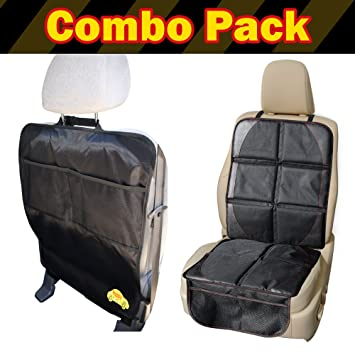 Child Car Seat Protector Mat PLUS Kick Organizer Auto Combo Pack
