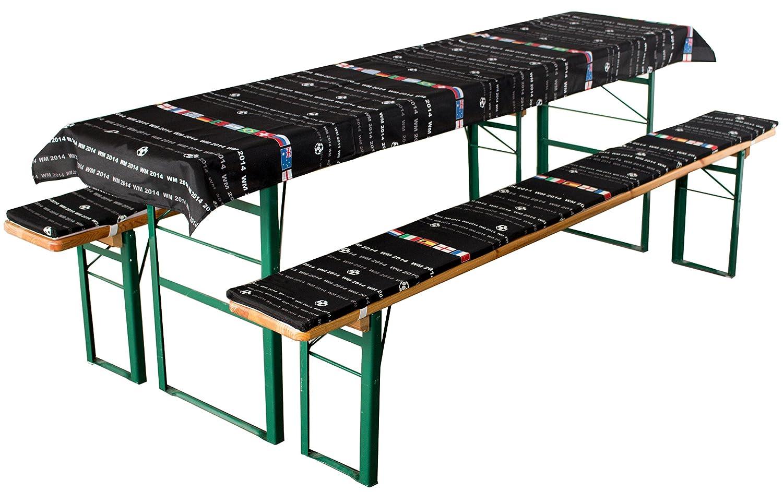 Cuscini per birreria Set di 3 Pezzi Brandsseller 1 tovaglia 240x70 cm e 2 Cuscini per Panca Imbottita 220x25 cm Blu//Scacchi