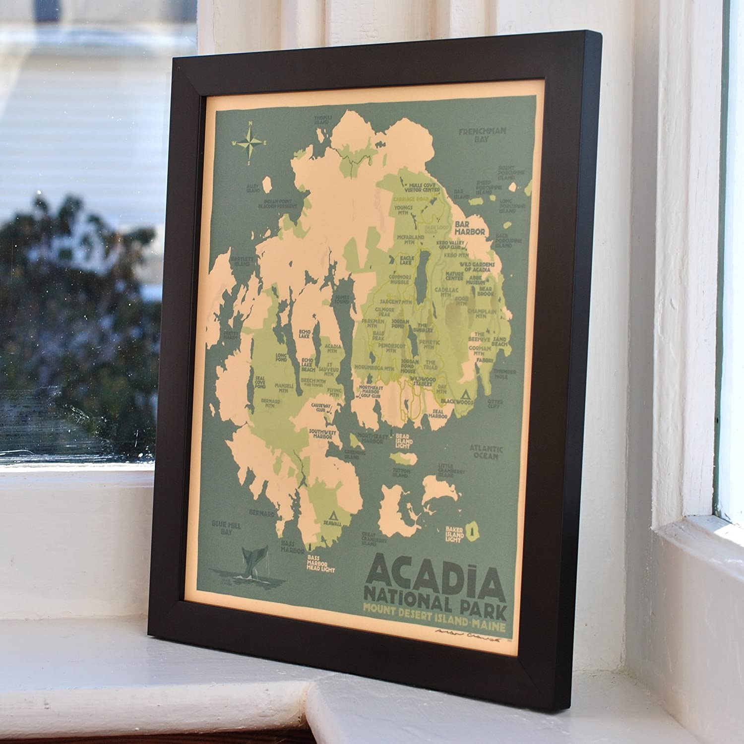 Ocean Park Maine Map.Amazon Com Acadia National Park Map Maine Framed Print 8x10