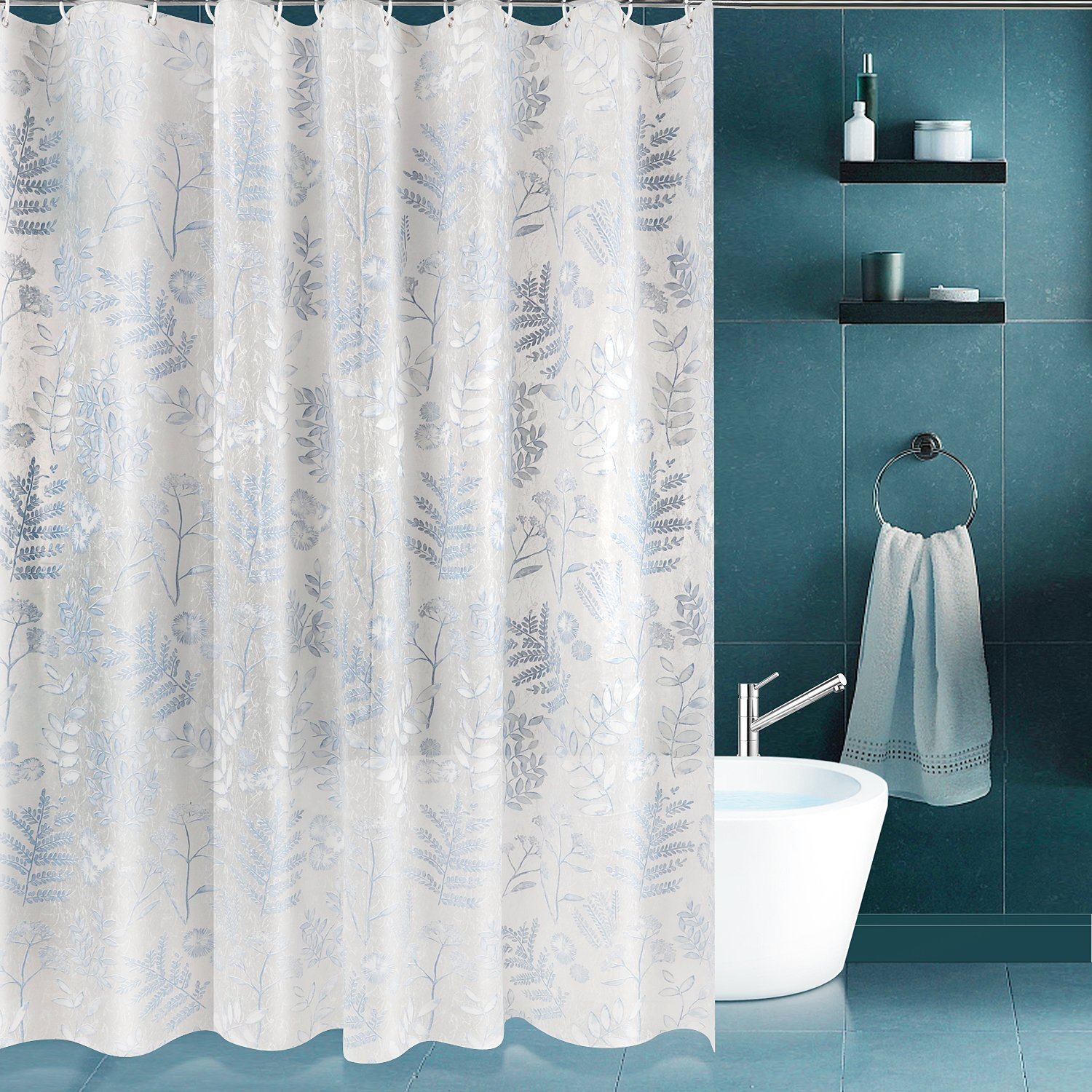SPARIN Shower Curtain Anti Mold Bacterial EVA Waterproof Bathroom Blue 3D Effect