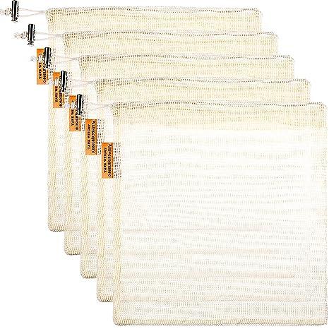 5 Pack Bolsa de Productos Reutilizable con Cierre de Cordón, Bolsa de Malla de Compra