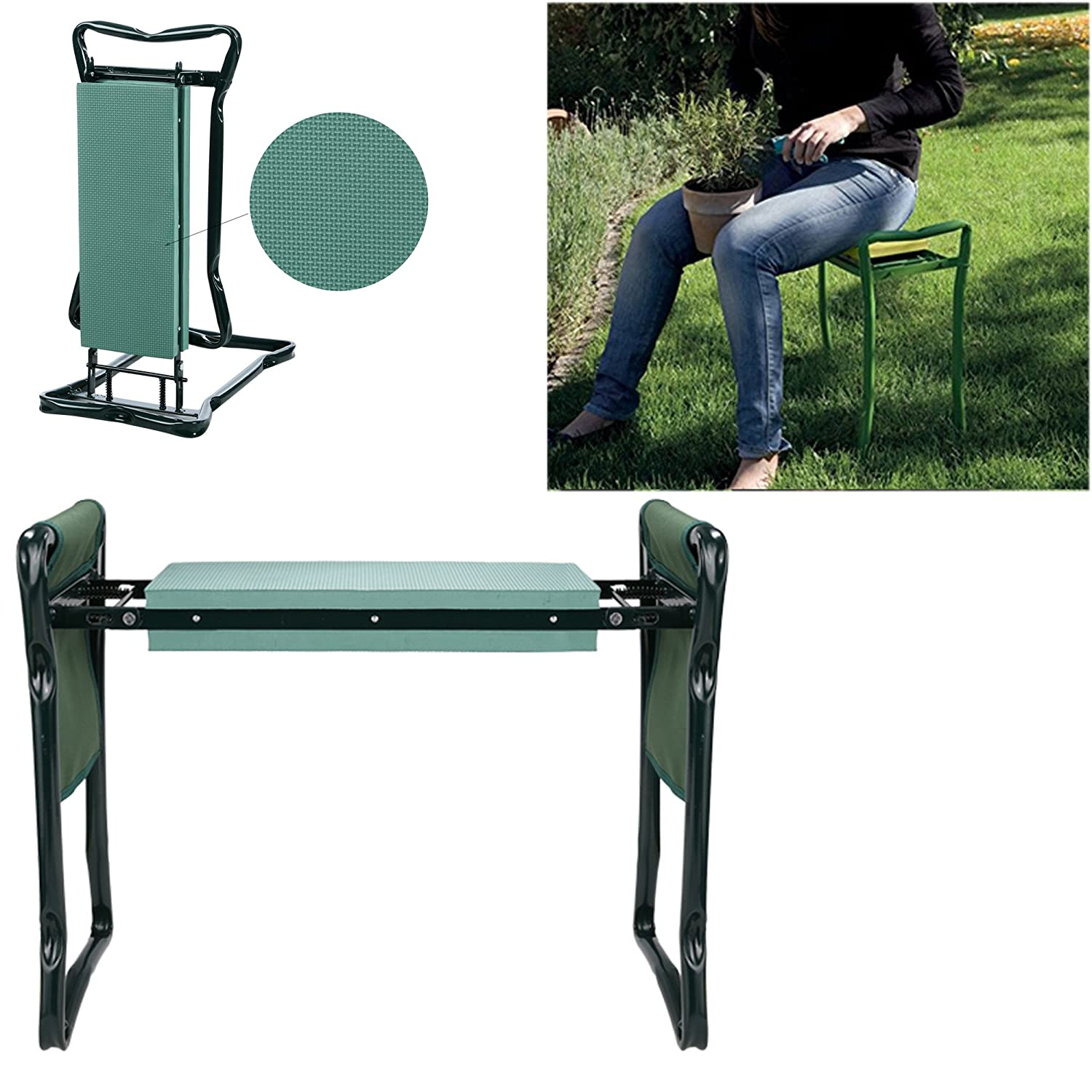 Wakrays Foldable Kneeler Garden Seat Portable Stool with EVA Kneeling Pad and Tool Pouch Green