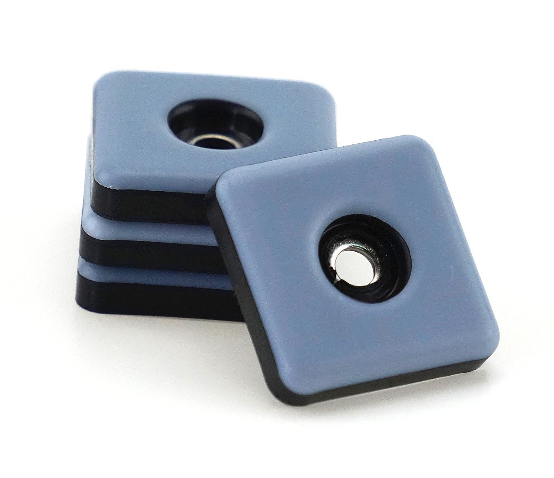 Pack of 32 Teflon Furniture Gliders 25 mm x 25 mm - 5 mm Thick incl. Screw 3.5 mm x 20 mm / PTFE coating / Teflon glider / furniture glider / chair glides S&S-Shop