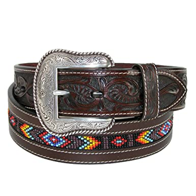 3cee42ce1 Roper Men's Hand-Tooled Beaded Silver Buckle Belt - 8593500-200 at ...