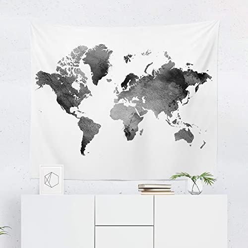 Amazon.com: Watercolor Black World Map Tapestry - Maps Global White on