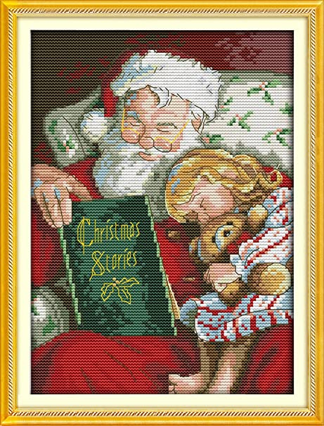 CaptainCrafts New Cross Stitch Kits Patterns Embroidery Kit Snowman White Christmas Stockings