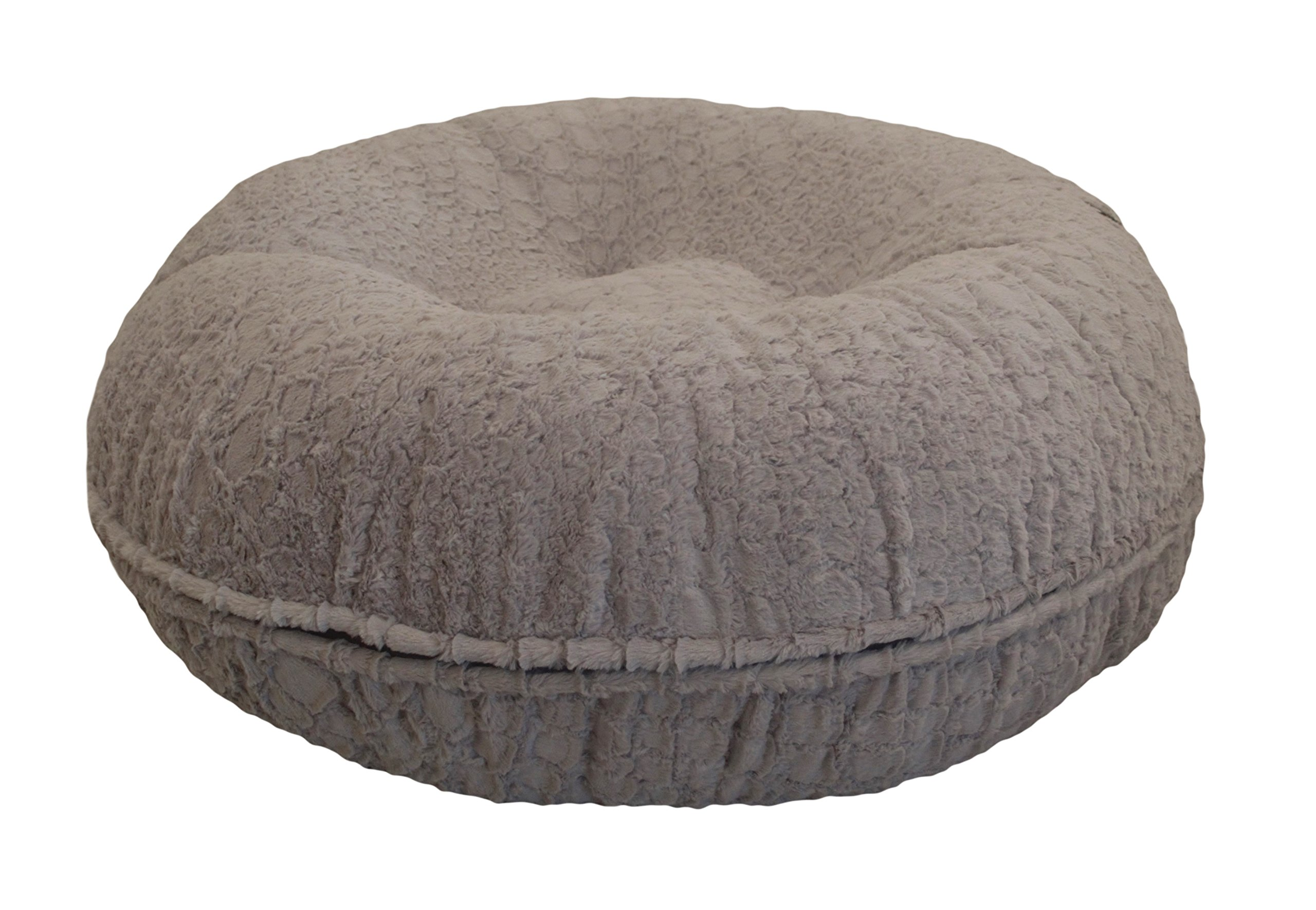 BESSIE AND BARNIE 42-Inch Bagel Bed for Pets, Large, Serenity Grey