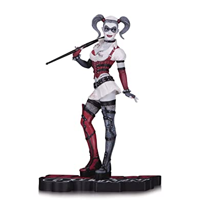 DC Collectibles Harley Quinn Arkham Asylum Statue, Red/White/Black: Toys & Games
