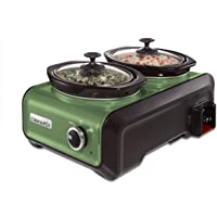 Crock-Pot SCCPMD1-GR Hook Up Double Oval Connectable Entertaining System, 1-Quart, Metallic Sage