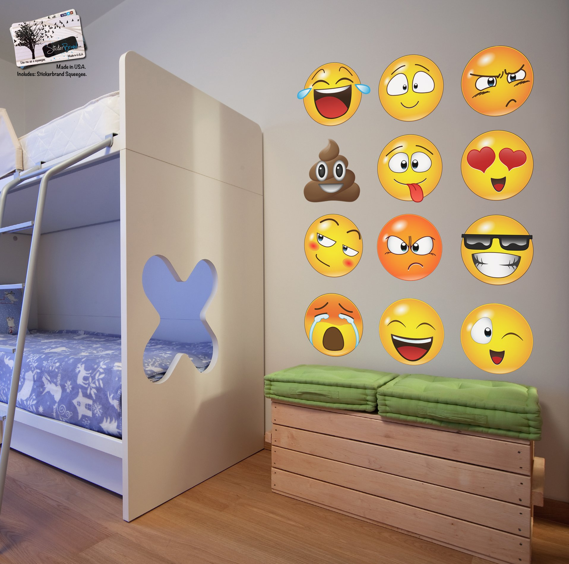 12 Large Emoji Wall Decal Faces Sticker #6052s 10in X 10in Each by Stickerbrand (Image #3)