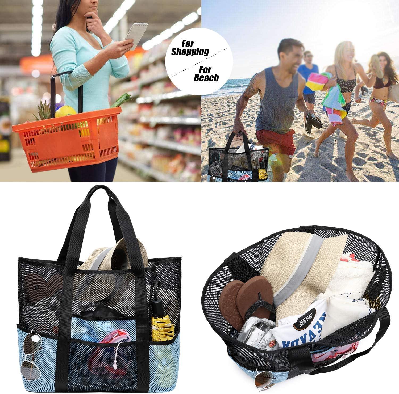 Beige Bolsa de Compras Bolsa de Almacenamiento para d/ía Festivo nataci/ón Picnic Bolsa Grande de Malla para la Playa KEESIN