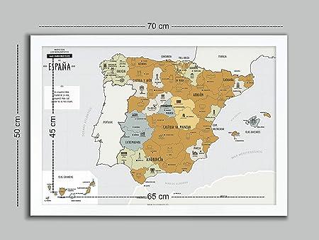Desconocido Mapa DE ESPAÑA para RASCAR + Marco Blanco (EN ESPAÑOL): Amazon.es: Hogar