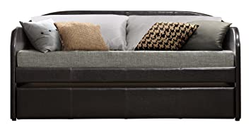 Awesome Homelegance Roland Pu Leather Upholstered Daybed With Trundle Twin Dark Brown Alphanode Cool Chair Designs And Ideas Alphanodeonline
