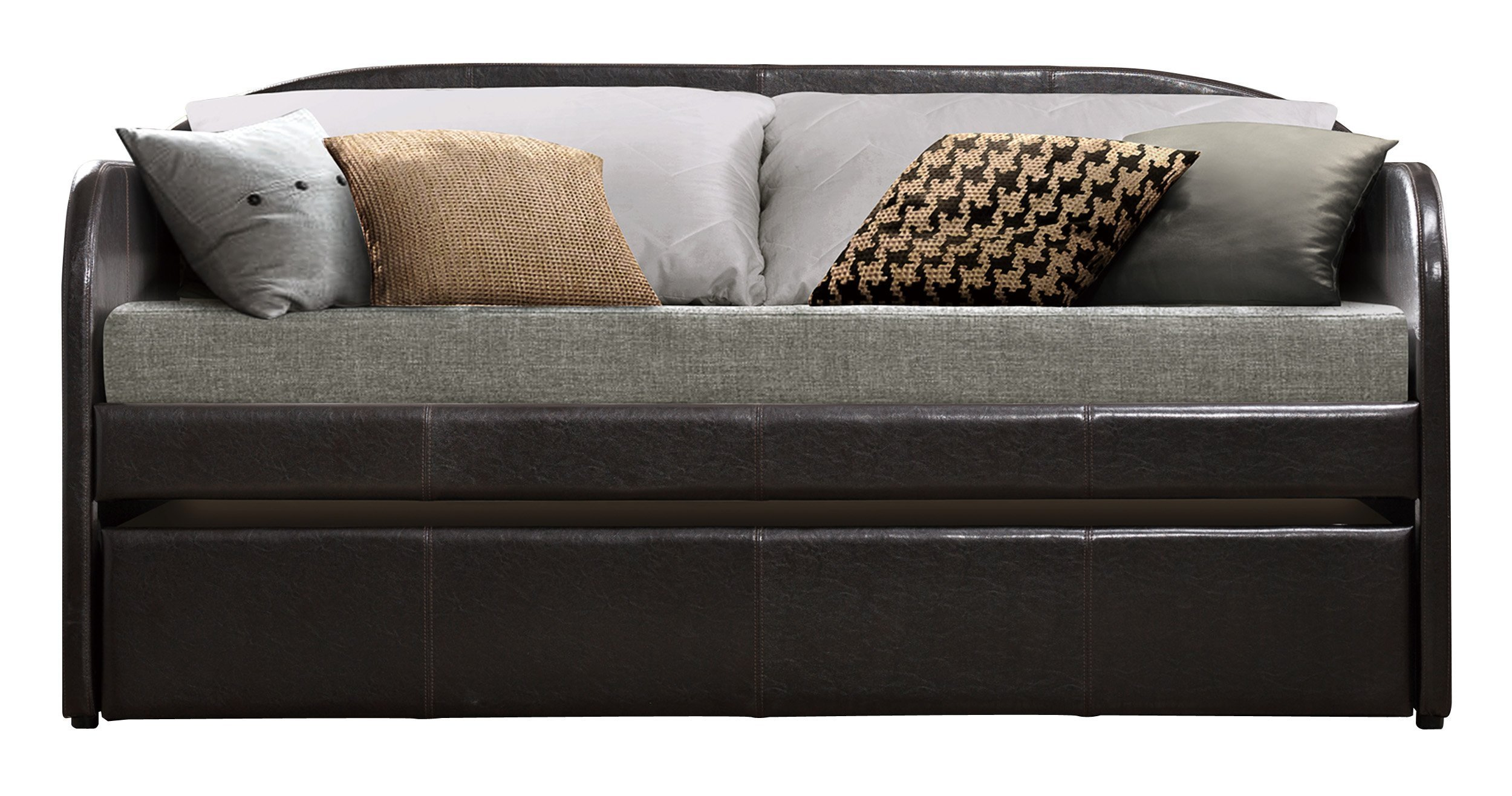 Homelegance Modern Design Daybed with Trundle Fully Upholstered Polyester, Twin, Grey