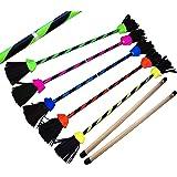 FLASH Pro Flower Stick Set - Ultra-Grip Silicone Coated Flowerstick & Hand sticks! Supreme Quality, Fiberglass Shaft, Silicone Grip, Suede Tassels, Velcro Strap. (UV Green)