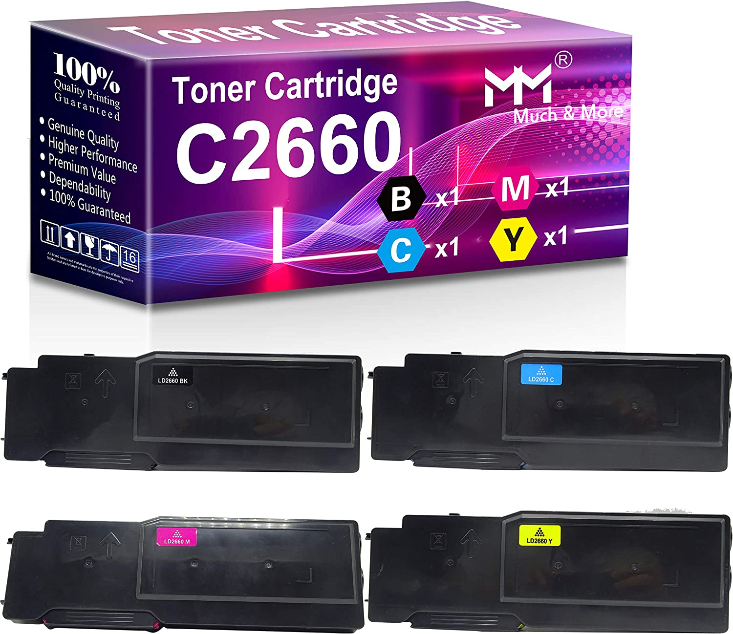 (4-Pack, Black+Cyan+Magenta+Yellow) Compatible 2660DN Toner Cartridge Used for Dell C2660 C2660dn C2665dnf 2660 Printer, Sold by MuchMore
