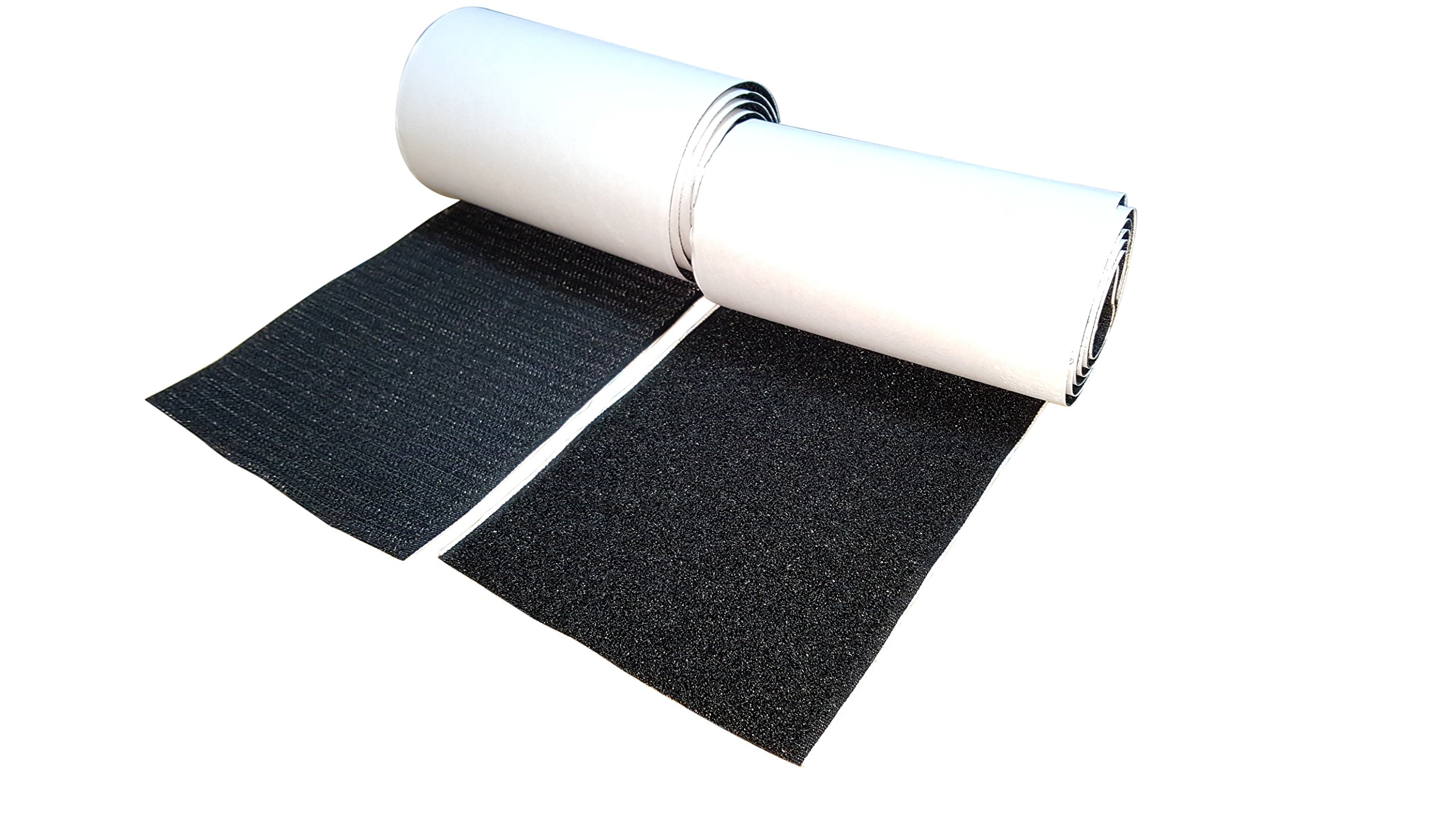 10CM Wide(Approx 4'') 1 Meter Long Self Adhestive Hook and Loop Strips Set with Super Sticky Glue Nylon Fabric Fastener Black